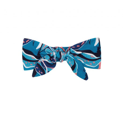 Blue & pink printed headband with a knot - LILLY KNOT HEADBAND