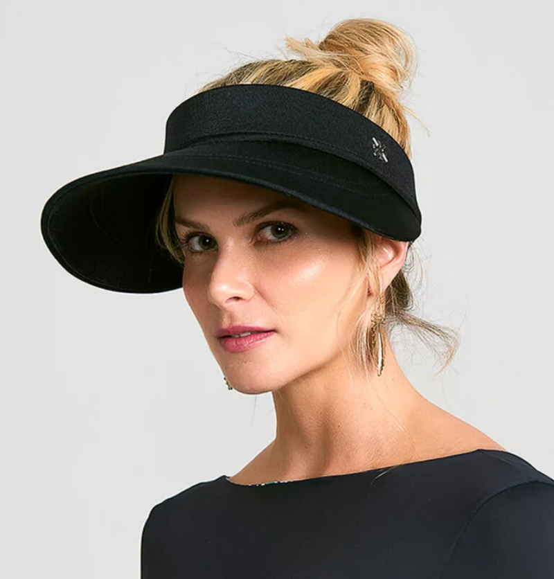 Black satin feminine sun visor - VISEIRA CHIARA PRETO
