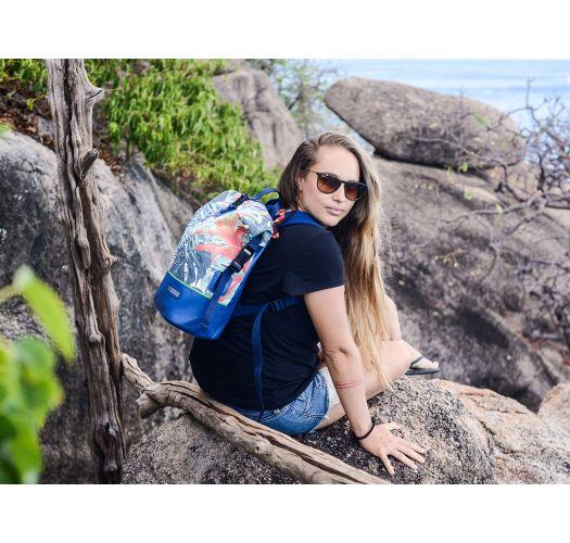 Sac à dos étanche bleu foncé motif feuilles - DRY TANK MINI BOTANIC GREEN