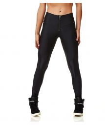 Black textured workout leggings with zipper  - LEGGING ZIPER BLACK