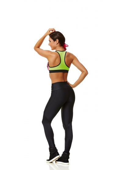 Neon pink, green, and black sports bra - TOP 3D NEON