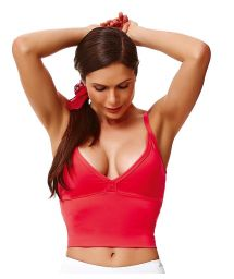Watermelon-red fitness crop top, strappy back  - CROPTOP STRIPS