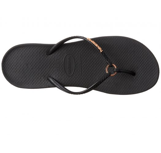 Black Flip Flops - Havaianas Ring Black/Black