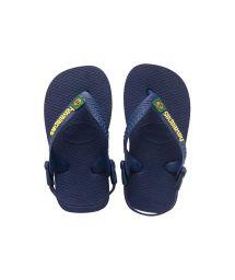 Flip-Flops - Baby Brasil Logo Navy Blue/Yellow