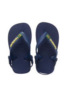 Chanclas - Baby Brasil Logo Navy Blue/Yellow