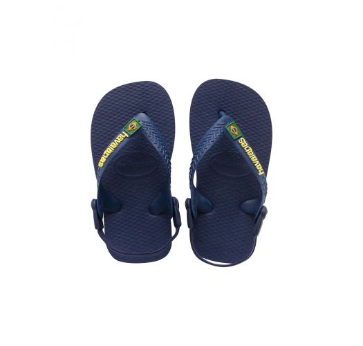 쪼리 - Baby Brasil Logo Navy Blue/Yellow