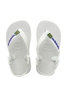 쪼리 - Baby Brasil Logo White/White