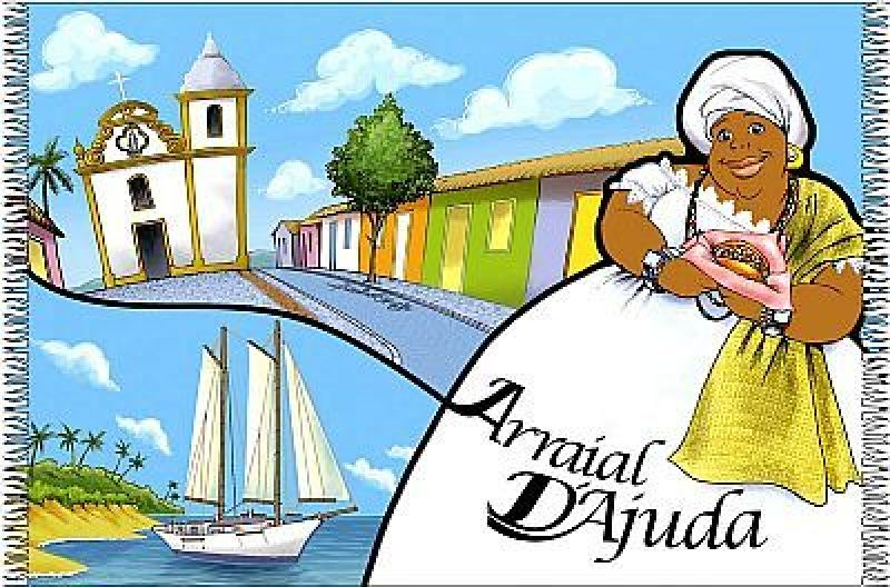 Colourful Brazil pareo with fun design - Canga Arraial Cartoon