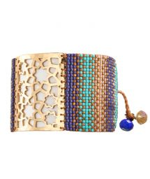 Armband STAR FLOWER BLUE TURQUOISE GOLD