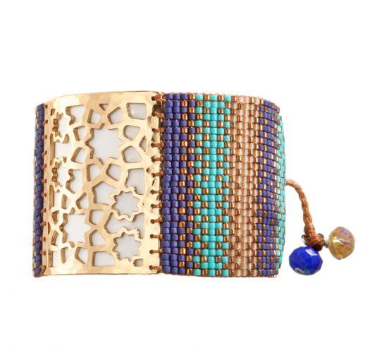 Bracelet STAR FLOWER BLUE TURQUOISE GOLD