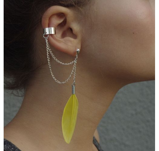 YELLOW FEATHER EAR CUFF