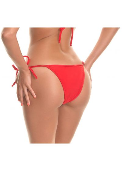 Red side-tie tanga bikini bottom - RED LACINHO