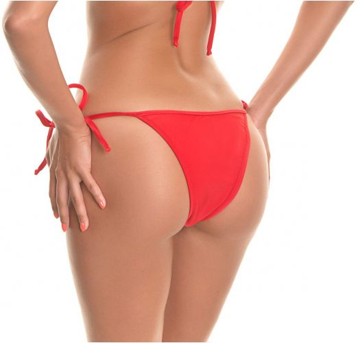 Red side-tie tanga bikini bottom - RED LACINHO