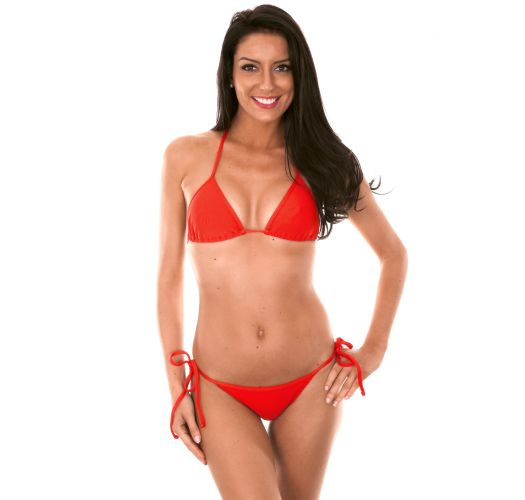 Red sliding triangle Brazilian bikini - RED CORT LACINHO