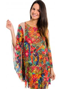 Multicoloured kaftan with transparent inserts - Kaftan Desejo