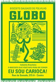 Questo canga celebra il 50° compleanno del Biscoito Globo, i biscotti e cracker che