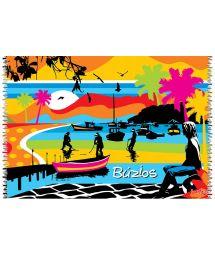 Multi-coloured tropical pareo with Buzios beach - CANGA BUZIOS LOBO