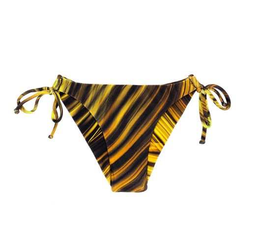 Yellow printed tie-side Brazilian bikini bottoms - CALCINHA LUXOR TRI DUO