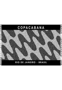 Black and white pareo with Copacabana waves design - CANGA COPACABANA