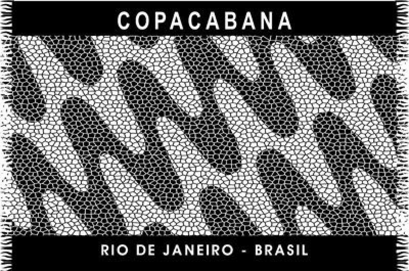 Black and white pareo with Copacabana waves design - CANGA COPACABANA