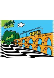 Páreo Canga Arcos Da Lapa que tem como característica uma ilustração do Rio De Janeiro. - CANGA ARCOS DA LAPA