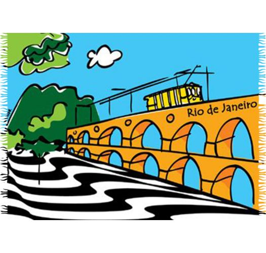 Pareo kanga Marcos Da Lapa odlikuje se ilustracijom Rio de Žaneira. - CANGA ARCOS DA LAPA