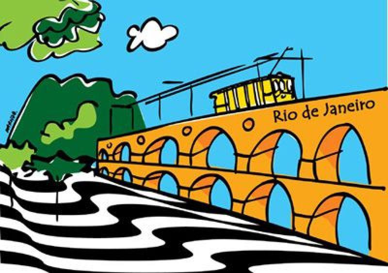 Canga Marcos Da Lapa pareo featuring an illustration of Rio de Janeiro. - CANGA ARCOS DA LAPA