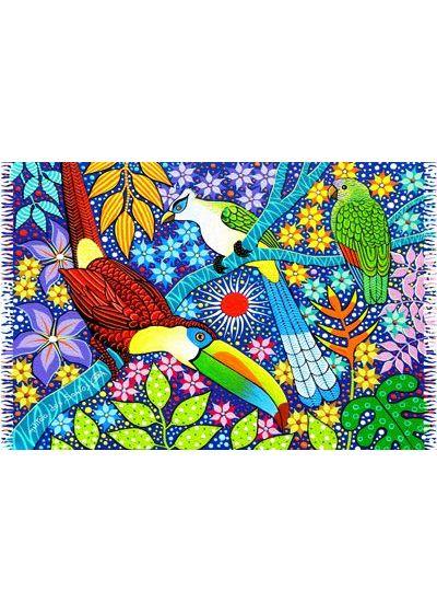Färgglad pareo av viskos / rayon med tropiska fåglar och blommor CANGA AVES TROPICAIS