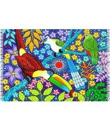 Ein zauberhafter Pareo in leuchtenden Farben und tropischem Design mit bunten Vögeln. - CANGA AVES TROPICAIS