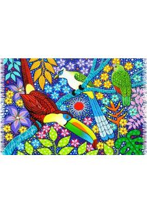Colorful viscose/rayon pareo featuring tropical birds and flowers - CANGA AVES TROPICAIS