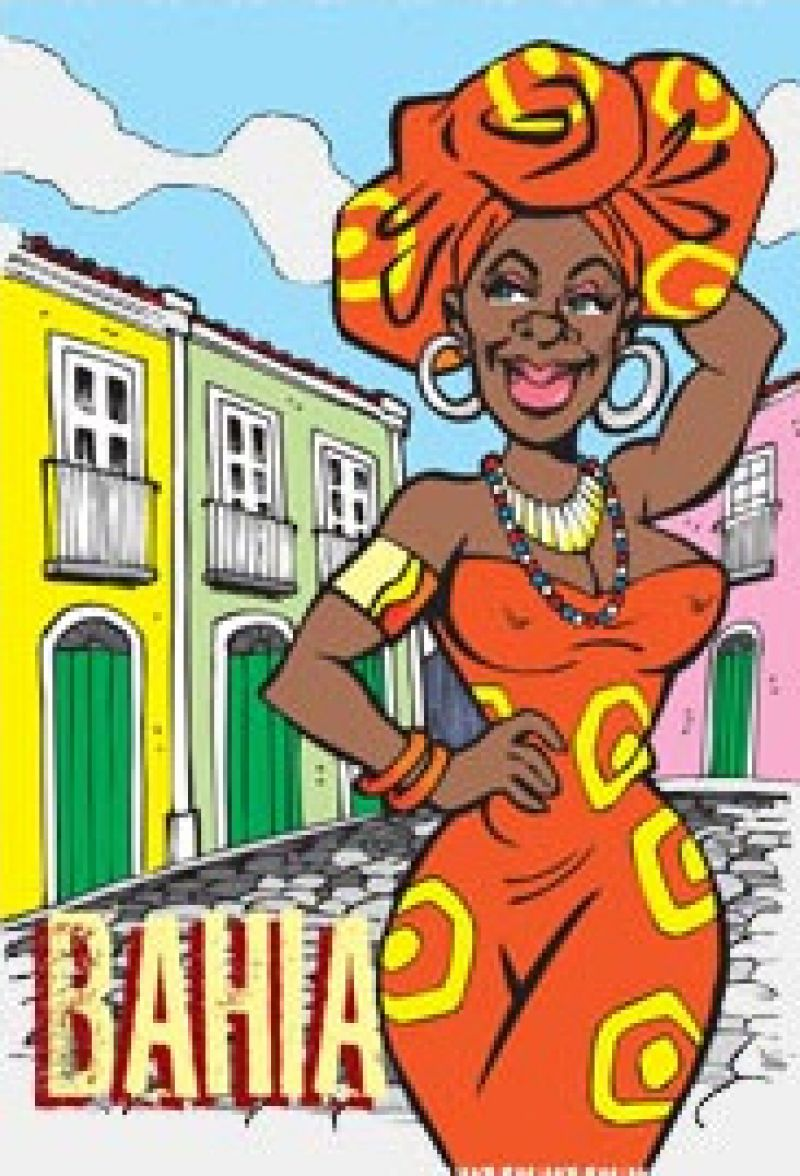 Multi-coloured fringed Bahia pareo - CANGA BAIANA CARTOON