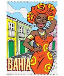 Multi-coloured fringed Bahia pareo - CANGA BAIANA CARTOON