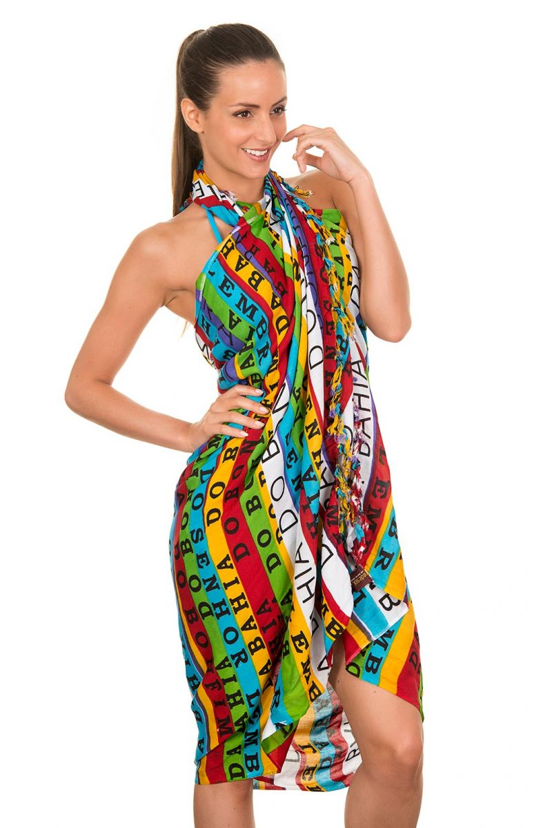Pareo with colourful print and lucky charm ribbons - CANGA BONFIM