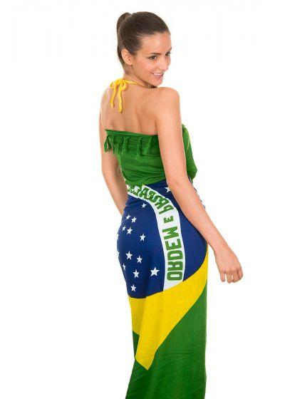 Pareo med fransar och brasiliansk flaggan som motiv CANGA BRASIL