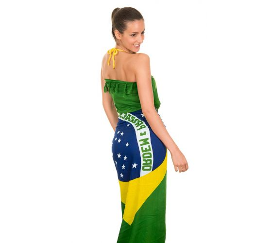 Fringed pareo with the Brazil national flag - CANGA BRASIL