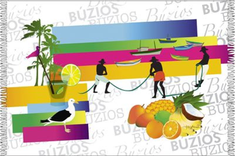 Buzios pareo med vita fransar Buzios, färgstarkt mönster CANGA BUZIOS WAVES