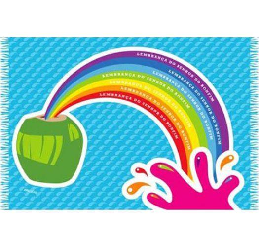 Fun pareo with coconut/rainbow pattern - CANGA COCONUT CARTOON