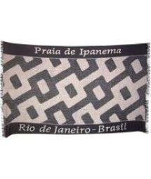 Black and white pareo with Ipanema beach design - Canga Ipanema