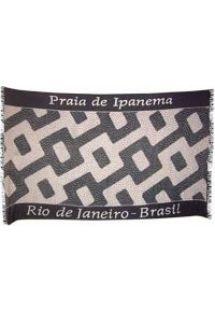 Páreo preto e branco, desenho praia de Ipanema - Canga Ipanema