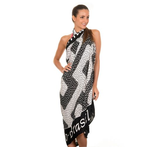 Black and white pareo with Ipanema beach design  - Canga Ipanema