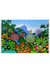 このカラフルでエキゾチックな巻きスカートで、Bali Blueの魅力的な作品の一つを堪能しましょう。 - CANGA JARDIM BOTANICO NAIF