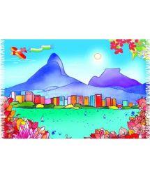 Canga with a brightly coloured and dreamy depiction of the Rio skyline - CANGA LAGOA MV