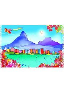 Exótico y alegre pareo inspirado en Indonesia con tonos azules y rojos - CANGA LAGOA MV
