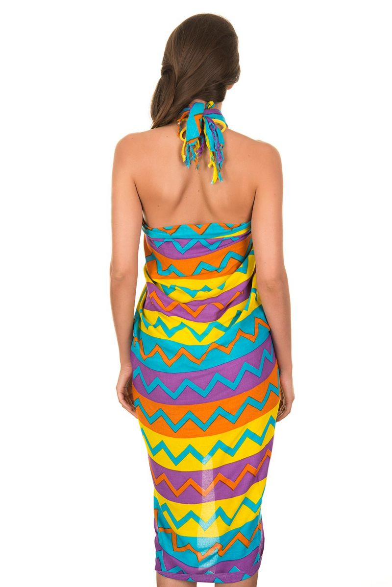 Pareo with multi-coloured zigzag stripes - CANGA MISSONI