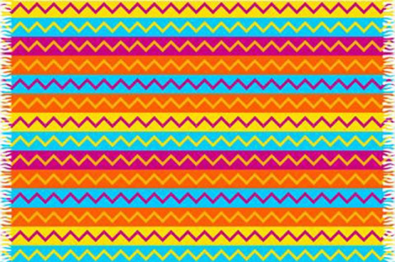 Pareo with multi-coloured zigzag stripes  - CANGA ZIGZAG