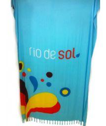 Blå pareo med fransar, färgade droppar som motiv Canga RiodeSol Turquoise