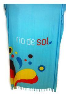 Blå, frynset pareo med motiv av fargede dråper - Canga RiodeSol Turquoise