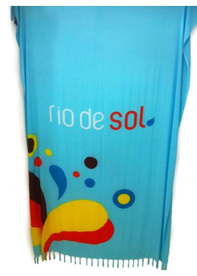 Blue fringed pareo with colourful drops pattern - Canga RiodeSol Turquoise