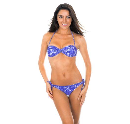 Blue printed bandeau bikini with scrunch bottom - BLUEJEAN RIPPLE