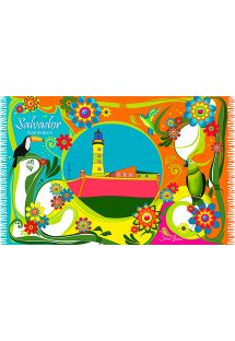Colourful fringed pareo with landscape and flowers - FAROL DA BARRA JANELA